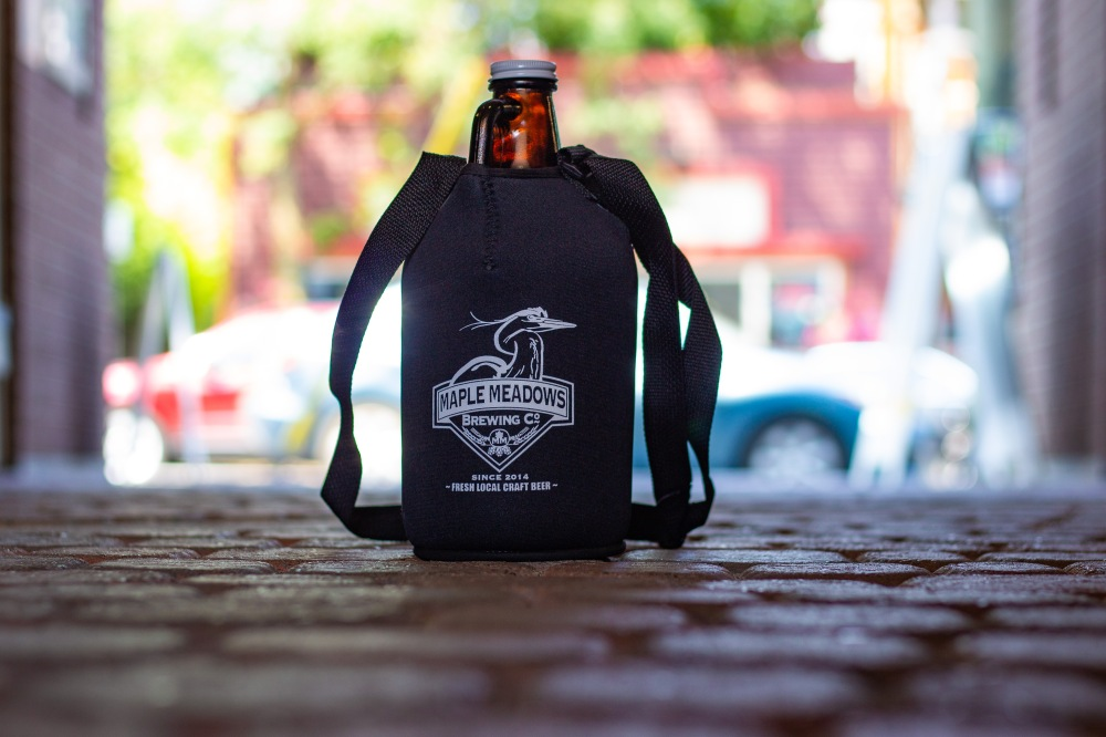 Maple Meadows Brewing Growler and a Coolie